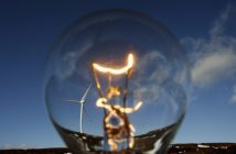 STIRLING, UNITED KINGDOM - FEBRUARY 14:  In this photo illustration wind turbines are seen through a light bulb at the Braes of Doune windfarm February 14, 2007 in Stirling, Scotland. The government has set a target for 10% of electricity to be generated from renewable sources by 2010.  (Photo by Jeff J Mitchell/Getty Images)